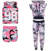 New Girls Army Camouflage Newyork 98 Tshirt shorts &sleeveless Tracksuit 7-13Yrs
