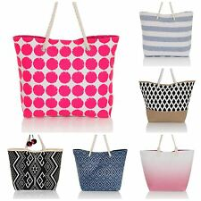 2016 Ladies Womens Large Canvas Beach Shoulder Bag Tote Shopper Summer Holiday