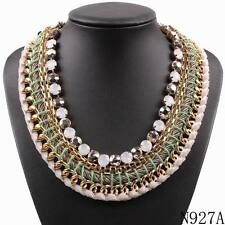 new choker collar string braided rope chain gold plated crystal pendant necklace