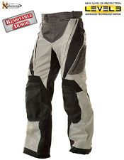 Xelement Black and Silver Tri-Tex Fabric Motorcycle Pants  Level-3 Armor Size 30