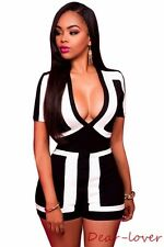 Classic Two Color Block V Neck Stripped Rompers Sexy Women Geometric Jumpsuits
