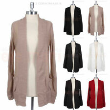 Women's Long Sleeve Casual Warm Knit Open Cardigan Pockets S M L