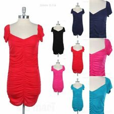 Short Sleeve Wide V Neck Wiggle Pencil Fitted Dress with Ruched Center Sexy Cute