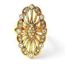 Yellow Gold Filled Band Ring Womens crystal ring Size 6 7 8 9 free shipping