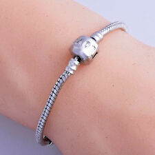 Love Silver Plated Beads Snake chain european Charms Beads Bracelet Lot