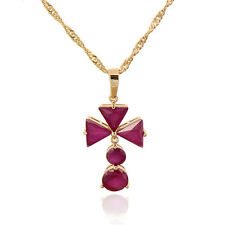 18K Gold Plated Multicolor Zirconia Triangle Flower Pendant Long Chain Necklace