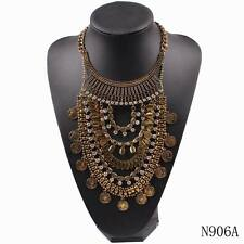 big crystal pendant chunky statement chain vintage alloy necklace for women 2016