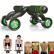 4-Wheel Abdominal Fitness AB Roller Muscle Abdominal Exercise Roller w/ Knee Mat