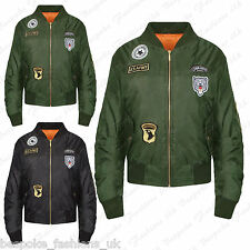 Ladies Women's Zip Up USA Army Badge Retro Classic Biker Bomber Jacket Coat