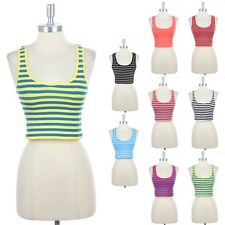 Seamless Basic Athletic Striped Cropped Tank Top with Racerback Stretch ONE SIZE
