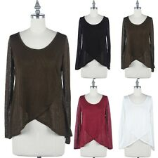 Solid Front Layered Scoop Neck Long Sleeve High Low Hem Top Casual Rayon S M L