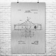 Wright Bros Airplane Flying Machine Top View Poster Patent Print Gift Pilot Gift