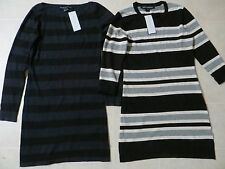 French Connection Bambi MARISSA JAG Striped BlueBlackGrey Sweater Dress 8 10 NWT