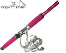 New Okuma Pink Femme Fatale 2 Piece Fishing Rod and Reel Combo Spooled with Line