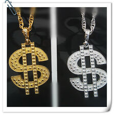 Adult Pimp Gangster Fancy Costume Dollar Sign Bling Necklace Gold And Silver