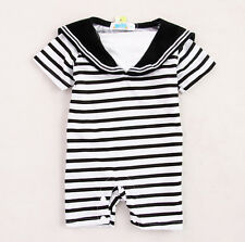 Navy Black Stripes Baby Boy Grow Short Sleeved Bodysuit Romper Onesie Jumpsuit