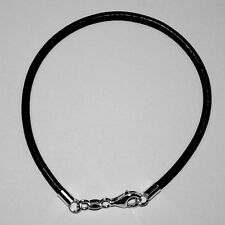 Bracelet Anklet Necklace 2.5mm Black Leather Cord with Sterling Silver 925 Clasp