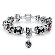 European Heart Silver Plated Charm Bead Bracelet w All Charms Women DIY Jewelry