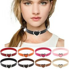 New Women Punk Style Goth PU Leather Heart Buckle Collar Choker Chain Necklace