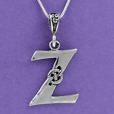 Letter Z Celtic Knot Pendant Sterling Silver 925 on 18-inch Chain Initial
