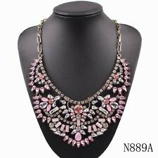 statement brand women chunky crystal chain pendant necklace jewelry wholesale