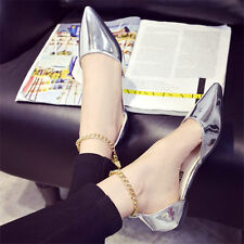 Womens Sexy Point Toe Flats Metal Chain Ankle Strap Sandals Oxfords Casual Shoes