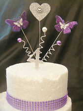 glitter pur/ sil butterfly heart trim any age anniversary birthday cake topper