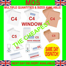 A4 C4 DL C5 Envelopes White Manilla SELF SEAL Plain & Window CHEAPEST