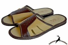 Mens Classic Buffalo Leather Indoor Traditional Handmade Slippers Shoes Sandal