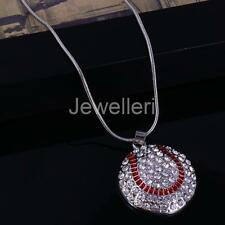 Pendant Rhinestone Necklace Heart Design Football Volleyball Chain Sport Jewelry