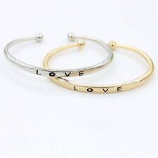 Women Gold/Silver Plated LOVE Bracelet Jewelry Stainless Steel Cuff Bangle New