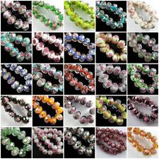 Wholesale Flower Inside Faceted Rondelle Loose Lampwork Glass Spacer Beads.12mm
