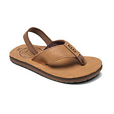Reef Grom Leather Smoothy Girls Flip Flops - Bronze/Brown