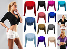 New Womens Ladies Sexy Deep V Neck Line Button Long Sleeve Crop Top Short 8-14