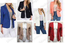 New Womens Open Blazer Jacket Fitted Tailored Open Front 3/4 Sleeve Blazer Top