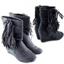 Women Fashion Winter Fringe Moccasin Pull on Ankle Boots Wedge Shoes Faux Suede