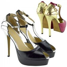 Womens Stiletto Heels Party Fashion Shoes T Bar Mary Jane Strap Party Shoes UK