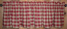 Berry Red Buffalo Check Homespun Valances Tiers Primitive Country Curtains