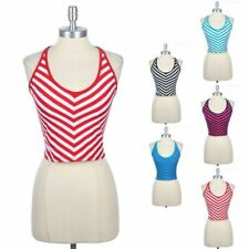 Halter V Neck Striped Cropped Top with Ribbon Tie Back Casual Cute Cotton S M L