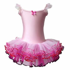 Girl Ballet Tutu Dancing Dress Flutter Ruffle Sleeve Leotard Skating Skirts 3-8Y