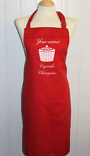 Personalised med Red Apron ** Cupcake / Baking Designs ** Made in the UK