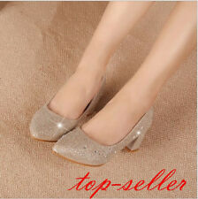 Stylish Pump Women Shiny Crystal Mid Block Heels Pointed Toe Party Wedding Shoes