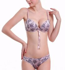 Exquisite Womens Sexy Bras and Panties Satin Print Lace Bra Set 32 34 36 38 B C