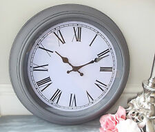 NEW Large Grey Shabby & Chic Distressed Wall Clock French Antique Vintage 40cm