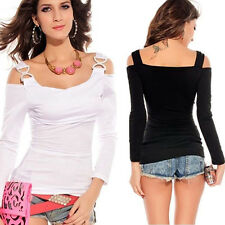 Happy Women's Off Shoulder Long Sleeve Slim Fit T-shirt Boat Neck Tops Shirts