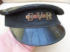A RARE ORIGINAL OLD  S.V.R RAILWAY DRIVERS PEAKED CAP with S.V.R BRASS BADGE