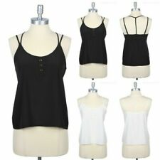 Solid Adjustable Spaghetti Strap Top with Front Buttons and Back T strap S M L