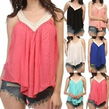 Lace Detail V-Neck Tank Top Ruched Flowy Flare Sleeveless Rayon S M L