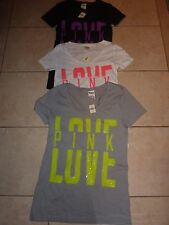 "VICTORIAS SECRET PINK BLING ""LOVE PINK"" SCOOPNECK/CREW TEE NWT"