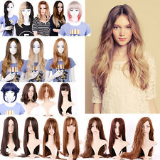 Queentas One Piece Ombre Hair Wigs Long Curly Straight Wigs Synthetic Hairpieces